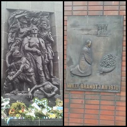 Ehrenmal des Warschauer Ghettos und Bronzetafel am Willy-Brandt-Platz