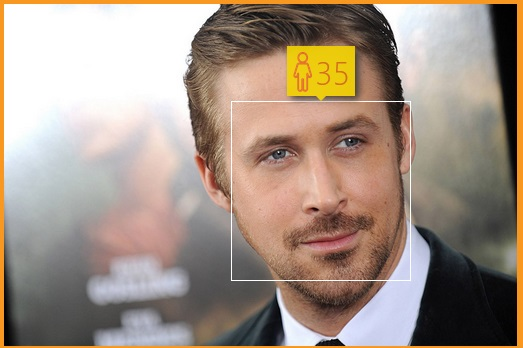 Actor Ryan Gosling is 34 years old - How-Old.net estimated him to be a year older
